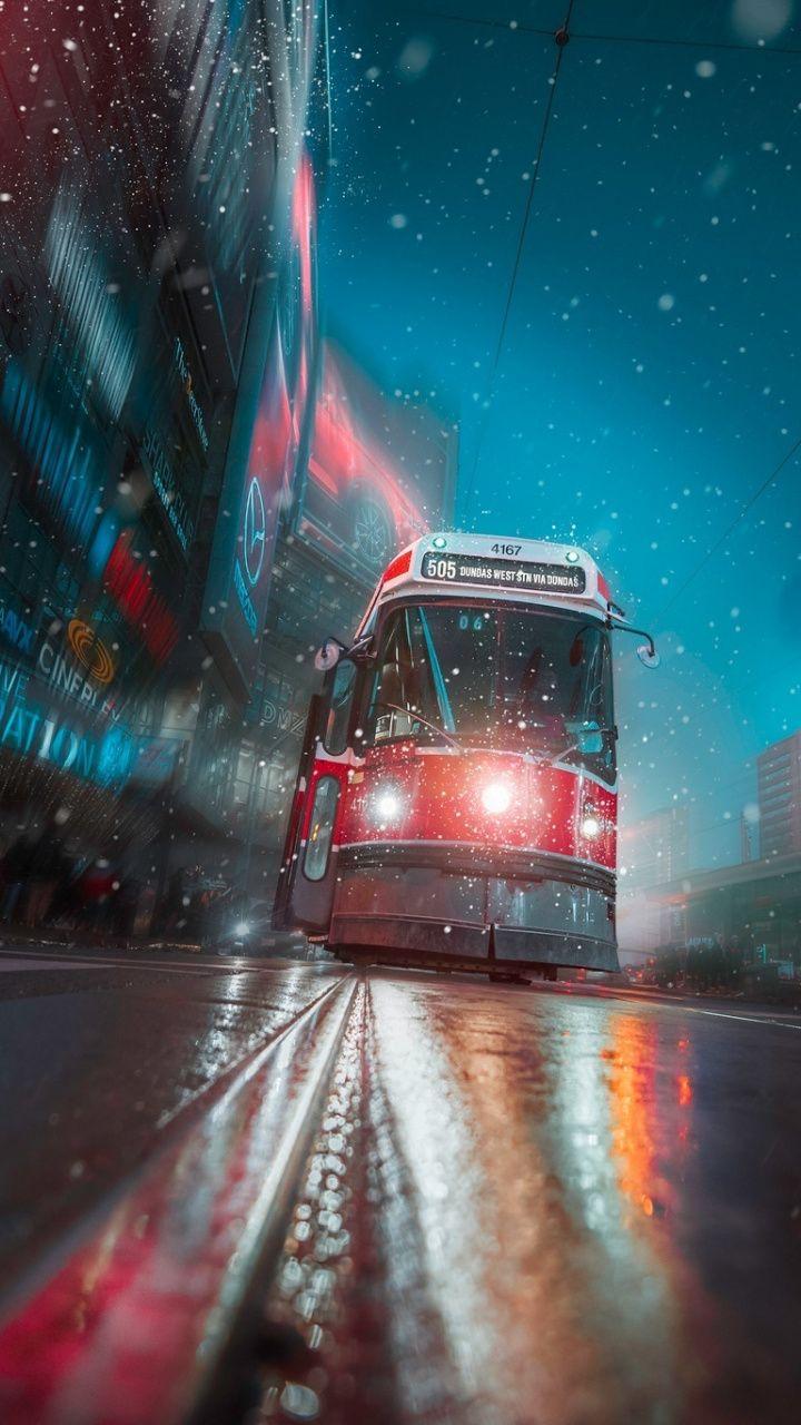 Toronto Tram Vehicle City Night Lights Art 720x1280 Wallpaper City Iphone Wallpaper Iphone Wallpaper Toronto Cityscape Wallpaper Toronto tram vehicle city night lights