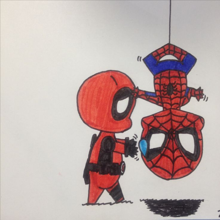 Deadpool and Spiderman drawing by Dhalie Fortin