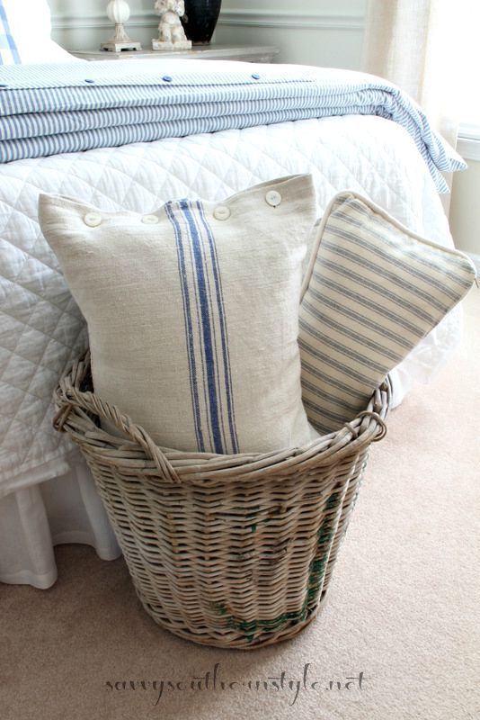 Savvy Southern Style: Ticking and Checks Can I make this? Pillow out of country grain sacks/tea towels