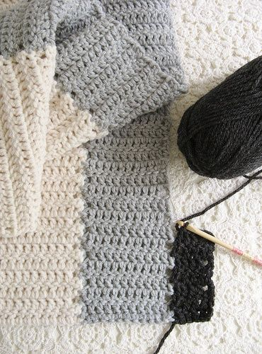how to join strips as you go - excellent tutorial at this link:   http://www.dottieangel.blogspot.com.au/2010/11/high-hopes-wrap-for-chilly-day-how-to.html  The tutorial is actually to crochet a wrap!!