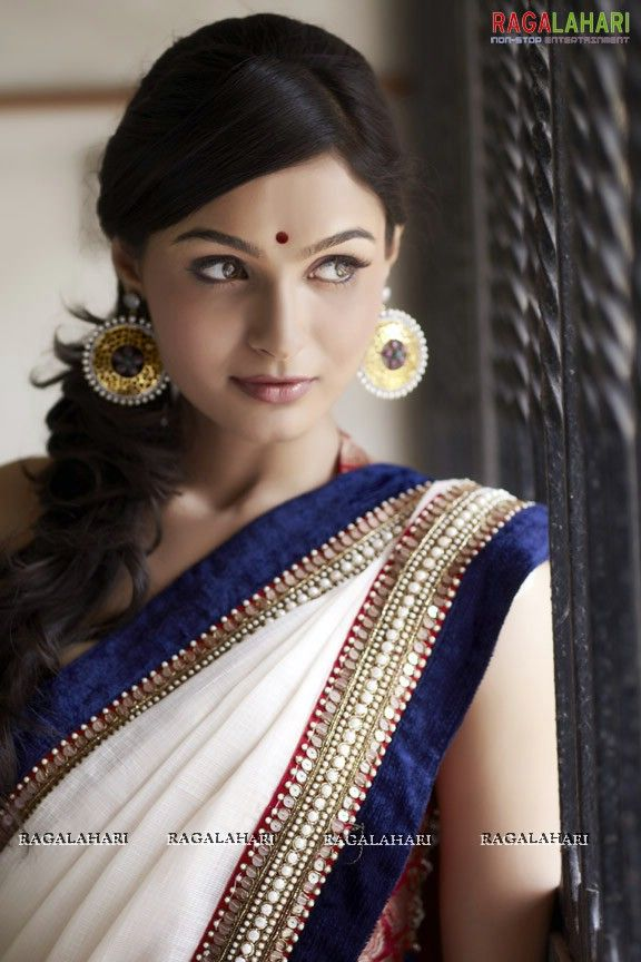 White and blue saree