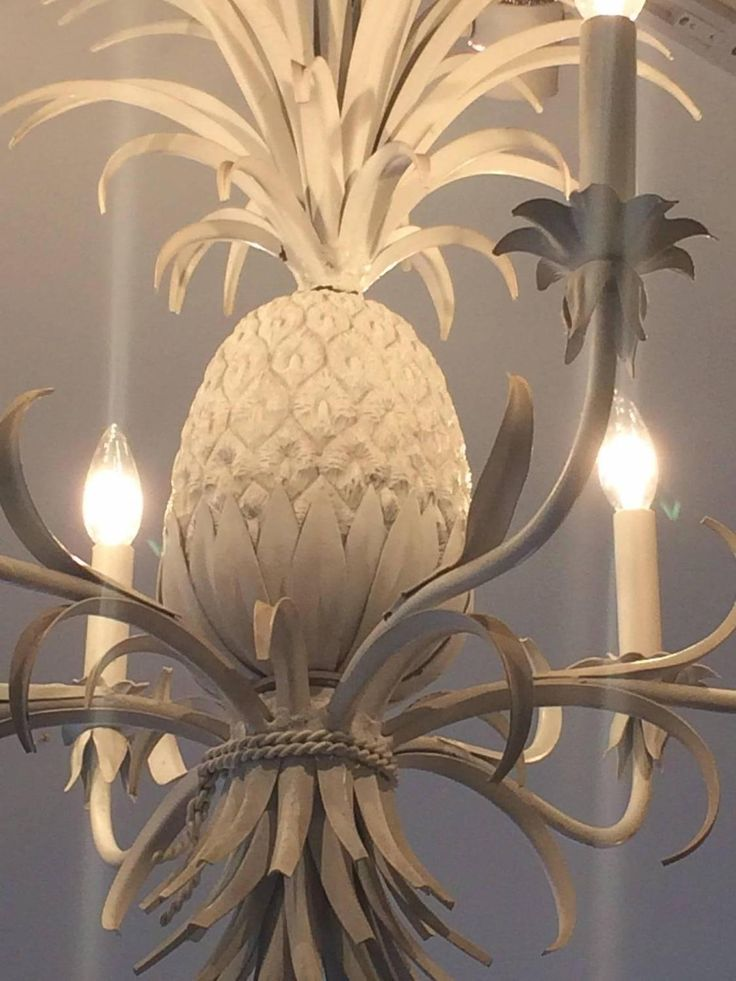 Glamorous White Painted Tole and Iron Pineapple Chandelier 3