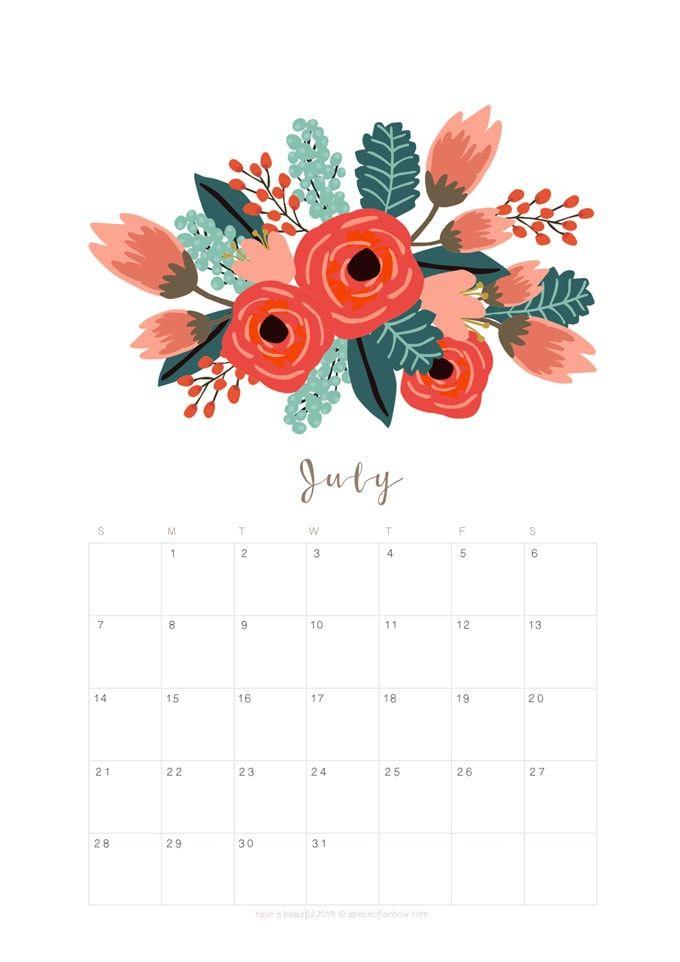 blank calendar july 2019