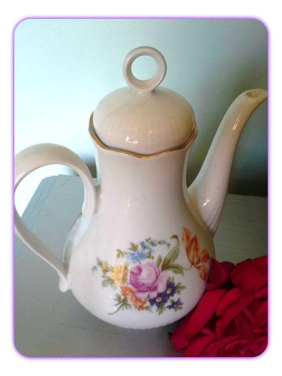 Vintage German JL Menau Porcelain Teapot Graf Von by SparkleSet