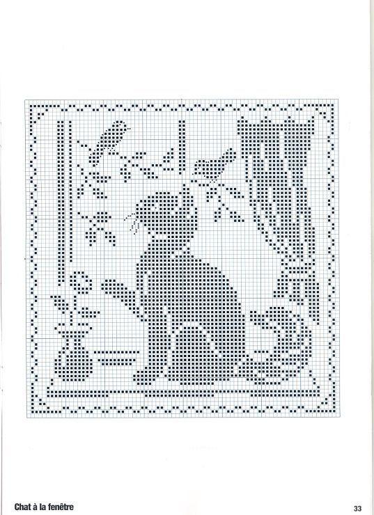Cute Cat & Birds Cross Stitch Pattern: