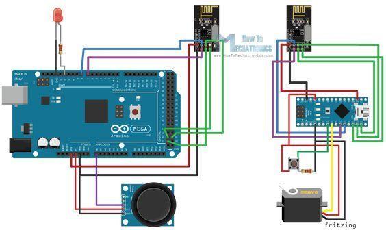 Arduino Wireless Communication NRF24L01 Circuit Schematic Tutorial