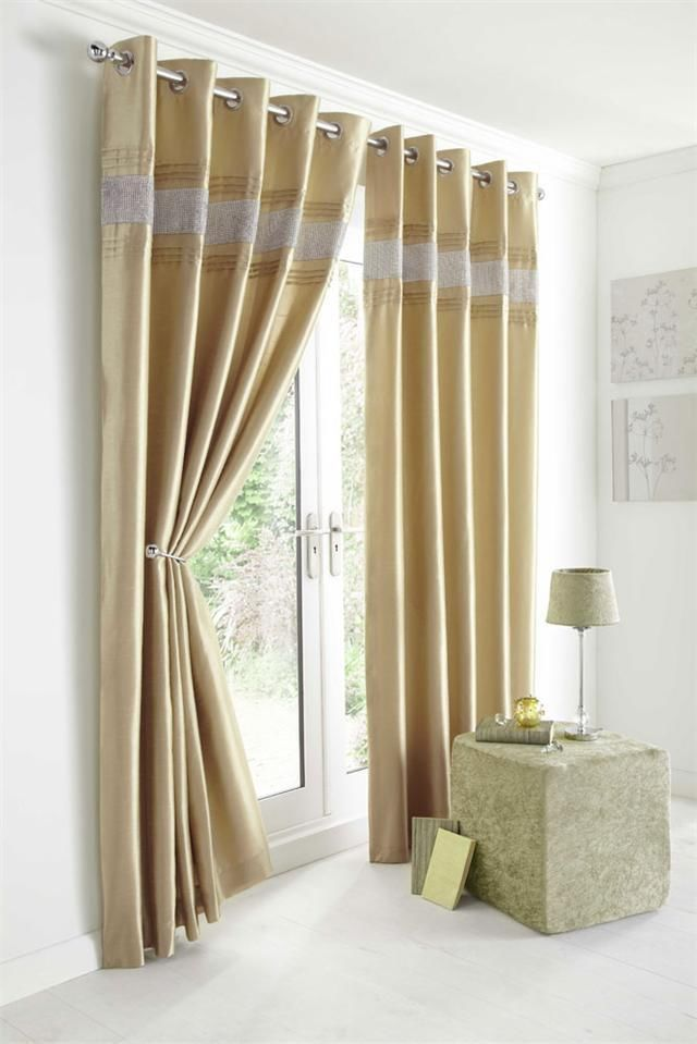 GOLD FAUX SILK CURTAINS WITH DIAMANTE DETAIL. SIZE 46  X 54 . FULLY LINED