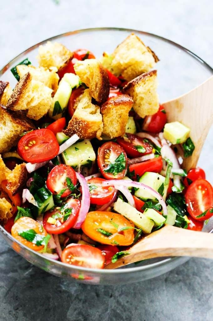Summer Panzanella with Garlic Butter Bread - this popular Italian salad is a perfect addition to any summer meal or BBQ. Crusty bread that's been infused with garlic butter makes it irresistible.