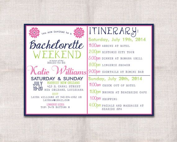 85 best bridal shower images on pinterest bridal showers bridal bachelorette party weekend invitation and itinerary pronofoot35fo Image collections