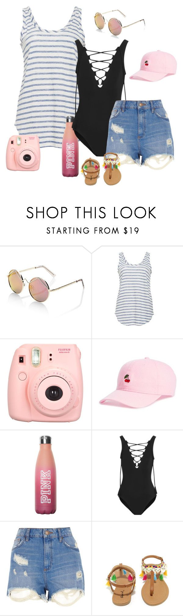 """Spring Break"" by marinavl ❤ liked on Polyvore featuring Le Specs, Polaroid, Body Rags, Karla Colletto, River Island and Qupid"