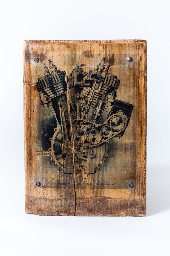 Vintage Indian Motorcycle Engine  Real Antique Wood Home Decor Wooden Picture