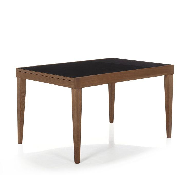 Table Vintage en noyer et verre noir Nutty - Tables et chaises - Alinea #AlineaPE2014