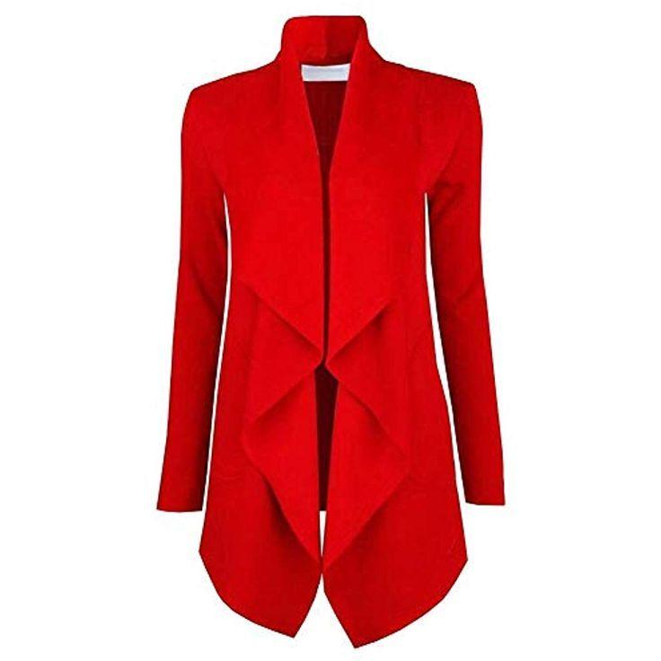 Damen Revers Blazer Anzug Jacke Business Work Formale Mantel Strickjacke Tops DE