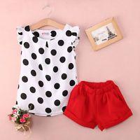2PCS Baby Kids Girls Clothing set Polka Dot Tops Shirt Red Shorts Outfits Casual