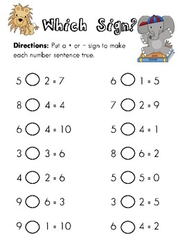 Which Sign? Fill in Plus or Minus Math Worksheets