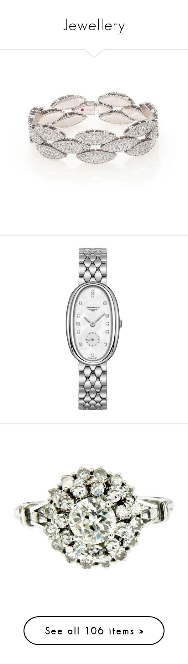 """Jewellery"" by fizzy76 ❤ liked on Polyvore featuring jewelry, bracelets, diamond fine jewelry, hinged bangle, white gold jewellery, fine jewelry, white gold bangle bracelet, watches, stainless steel and stainless steel jewellery"
