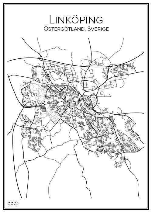 Handritad affisch över staden Linköping i Östergötlands län. Här kan du beställa stadskarta över din stad och andra svenska samt utländska städer.