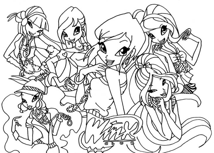 winx club coloring page printable