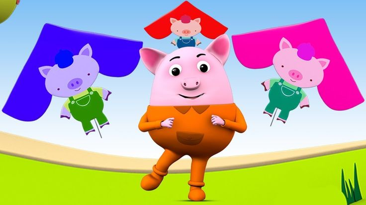 Learning Colors with Baby Pig Fun Play Kites for Kids Children Toddlers ...