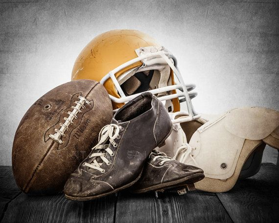This listing is for One print of a 1950s vintage football, helmet, old football cleats and some old football pads. The sepia, distressed tones will add so much warmth and character to your space. This would be a perfect print for your little boys room, nursery or a man cave! Please