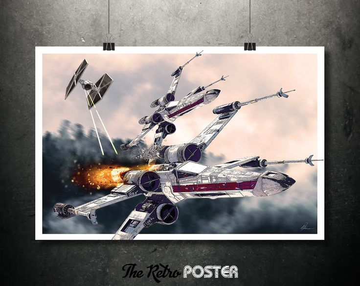 Star Wars - X-Wing Fighter, Tie LN Starfighter, Movie Posters, Film Prints, Space Print, Fantasy Art, Sci Fi, Space Travel, Travel Art by TheRetroPoster on Etsy