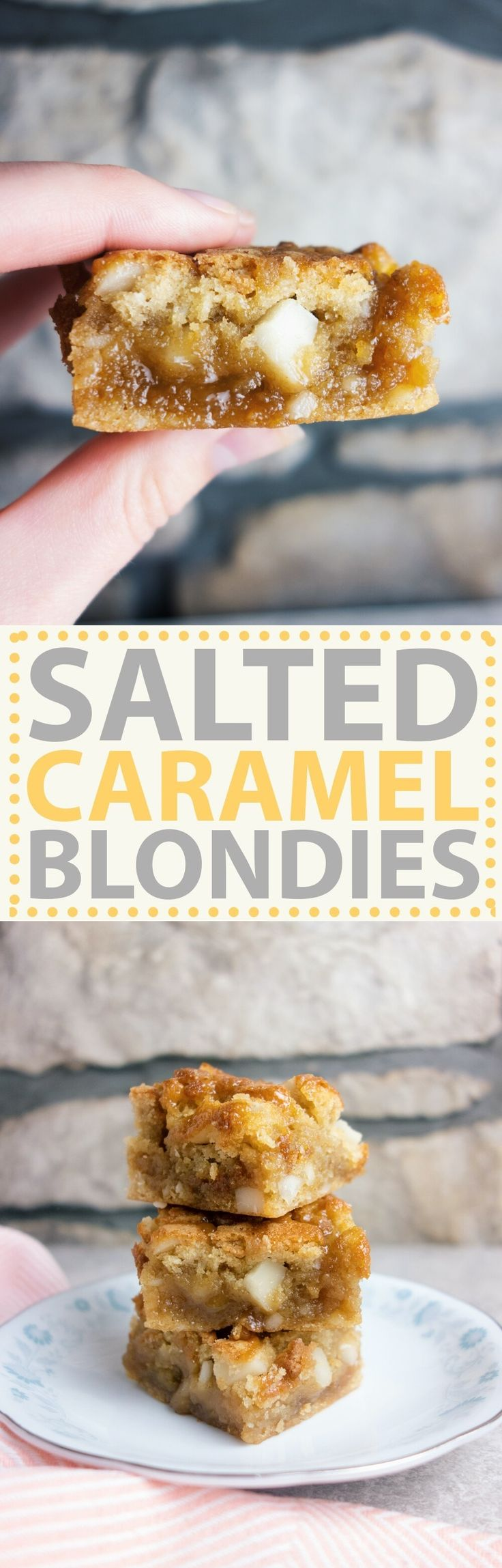 Salted Caramel Macadamia Blondies: Gooey, rich butterscotch flavoured blondies with macadamia nuts and a layer of salted caramel sauce!