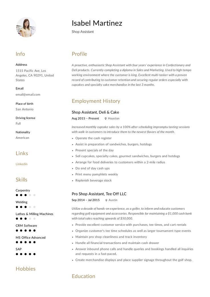 Shop Assistant Resume Template Resume Examples Guided Writing Resume Template