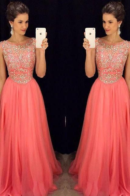 Prom Dresses,Coral Chiffon Prom Dresses, 2016 Prom Dresses, Evening Dresses,Sheer Neckline A line Prom Gowns,Formal Dresses,Sexy Prom Dress with Beadings