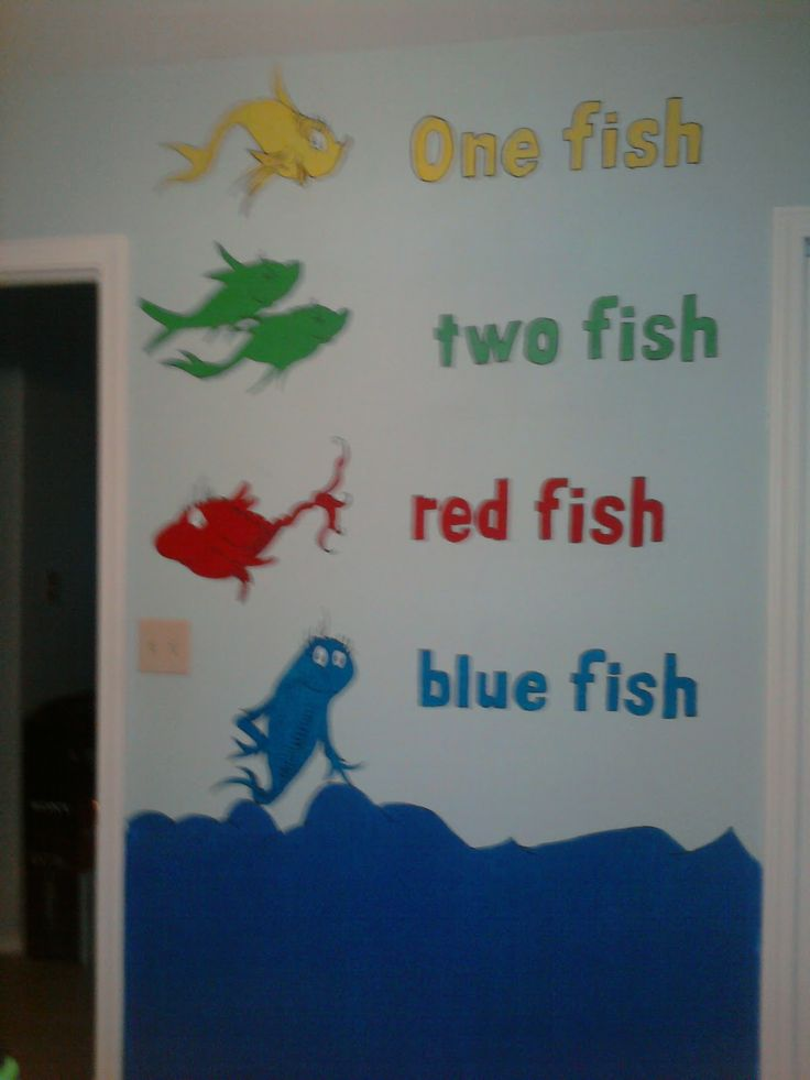 One fish two fish red fish blue fish preschool bulletin for Red fish blue fish dr seuss