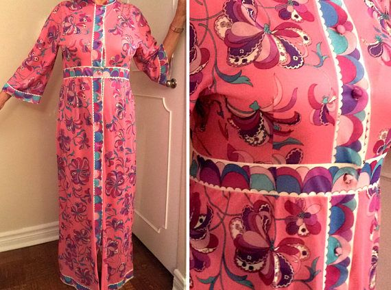 1960s Emilio Pucci Maxi Dress Robe Hot Bubblegum Pink Floral