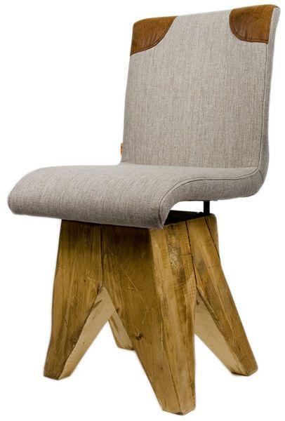 Designerskie krzesło LOW      Nowoczesne krzesło powstałe z masywnej, stylowej podstawy z litego drewna świerkowego, na której osadzono wygodne siedzisko. Tapicerowane tkaniną i skórą.