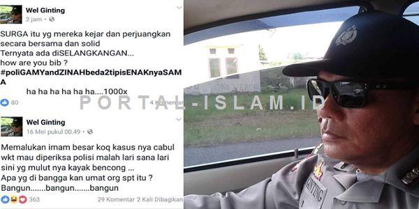 TERBONGKAR!! Inilah Identitas Polisi Mengaku Mualaf Penghina Habib FPI dan Umat Islam  [PORTAL-ISLAM] Penghinaan terhadap ulama yang marak dilakukan di media sosial pasca vonis pidana penjara atas Basuki Tjahaja Purnama (Ahok) ternyata diduga juga dilakukan seorang oknun polisi yang tinggal di Aceh. Polisi tersebut ditengarai telah melakukan pelecehan terhadap Imam Besar FPI Habib Rizieq Shihab melalui laman facebooknya. Berpegang pada kisah skandal chat prbadi antara Habib Rizieq dan Firza…