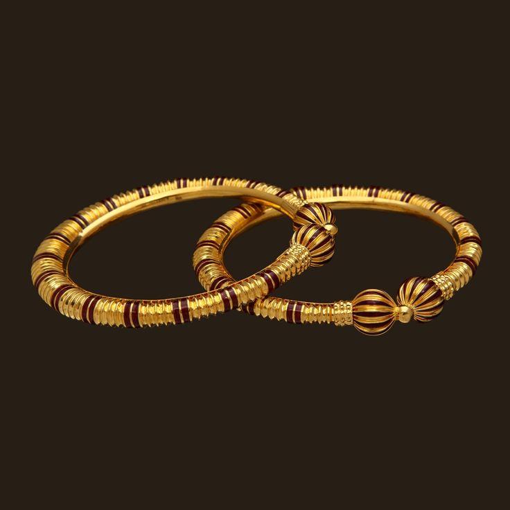 Gold Enamel Bangles (107A29206) | Vummidi Bangaru Jewellers