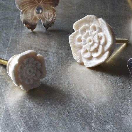 Carved Rose Bone Door Knobs