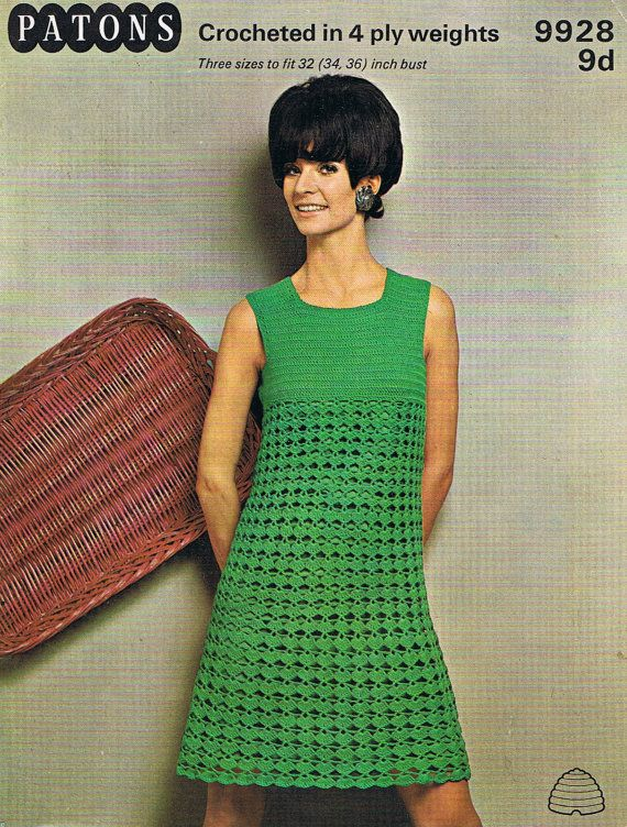 Crochet Dress Pattern 1960s Groovy Dress PDF by HeirloomPatterns, $3.20
