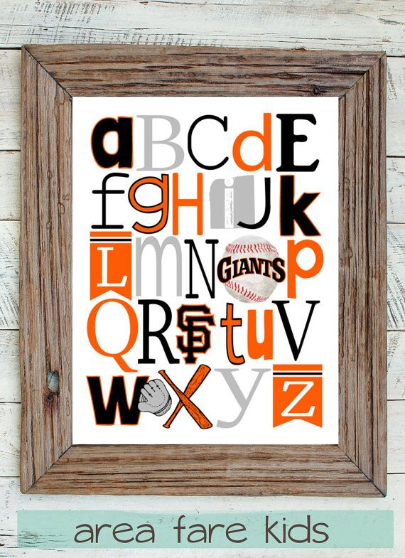 San Francisco Giants ABC art print from Area Fare Kids. ... https://www.etsy.com/listing/109405192/sf-giants-baseball-abc-nursery-art-print