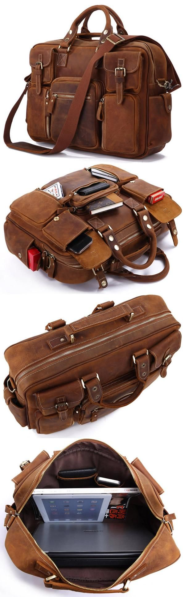 Large Handmade Vintage Leather Travel Bag / Leather Messenger Bag / Overnight Bag / Duffle Bag / Weekend Bag - n62-4 - Thumbnail 4