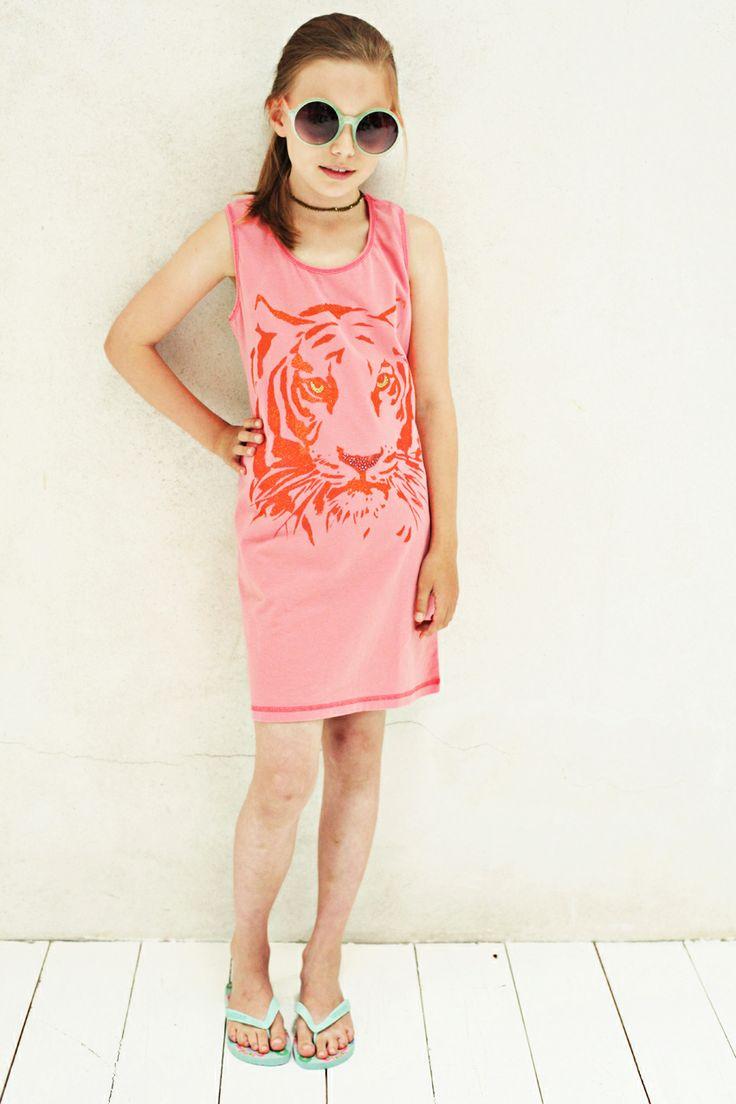 Sommerliches Strandkleid Design 'Tiger', Color Flamengo