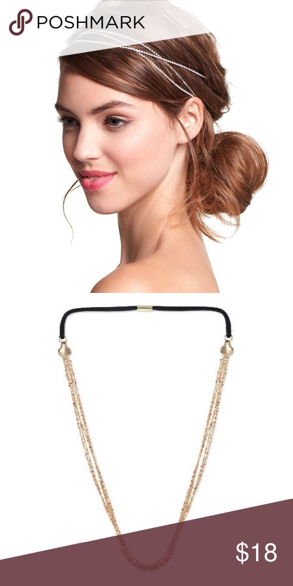"""Gold / Silver Metal Strand HEADBAND Boho Hair Wrap BRAND NEW in Package!! Shiny gold-plate metal strands define a delicate head wrap, finished with elastic backing for a comfortable, and secure hold. 🌟 Item can also be worn around neckline as multi-strand silver or gold-tone necklace. 🌟 Headbands contain 5 strands/each.  - 60"""" length (approx.) - Silver/Goldtone Plate   🌟Item is Brand New, direct from the Manufacturer, & sealed in package!! 🌟 Accessories Hair Accessories"""