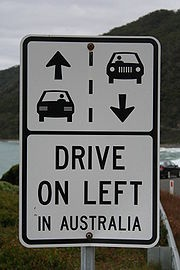 "These awesome signs are dotted all along The Great Ocean Road for ""right-challenged"" drivers like me!"