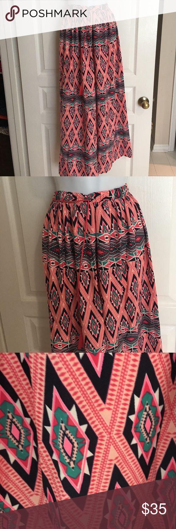 Plus Aztec Maxi Skirt 2X 40 inches long.  Elastic waist. Can fit a 1X, 2X and 3X True Destiny Skirts Maxi