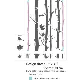 Maple tree wall stencil - Re-positioning points