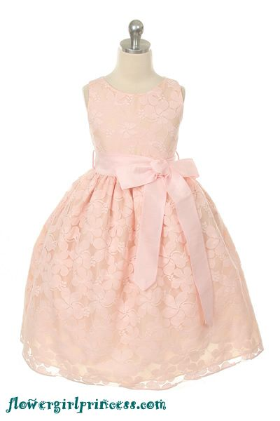 LOVE THIS! So vintage and would look so pretty on Skylar.   Flower Girl Dresses - Pink Dresses - Flower Girl Dresses Discount Cheap Designer Dressforless - SK282 - Pink Lace Embroidered Flower Girl Dr...