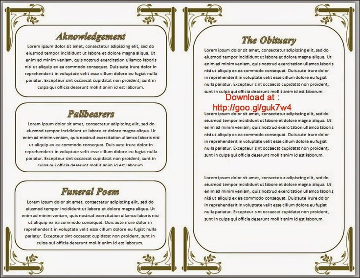 Funeral Programs Order of Service Template in Word to ...