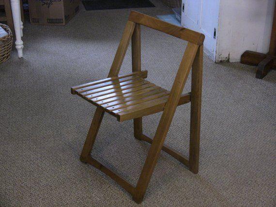 Vintage Mid Century Wooden Folding Chair Danish Modern