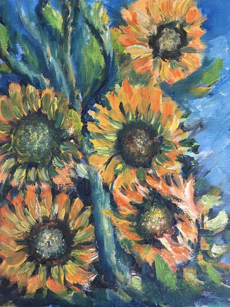 """Girasoles"" (Sunflowers). 2011. 20x15cm. Oil on canvas."