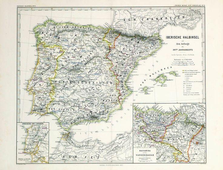 """ESCUELA ALEMANA S. XVIII  REFERENCIA:  1945-C  """"Mapa de España y Portugal"""".  Gotha. Justus Perthes, 1871.  Grabado.  Medidas: 40 x 50 cm.  En recuadro Vascongadas y Navarra."""