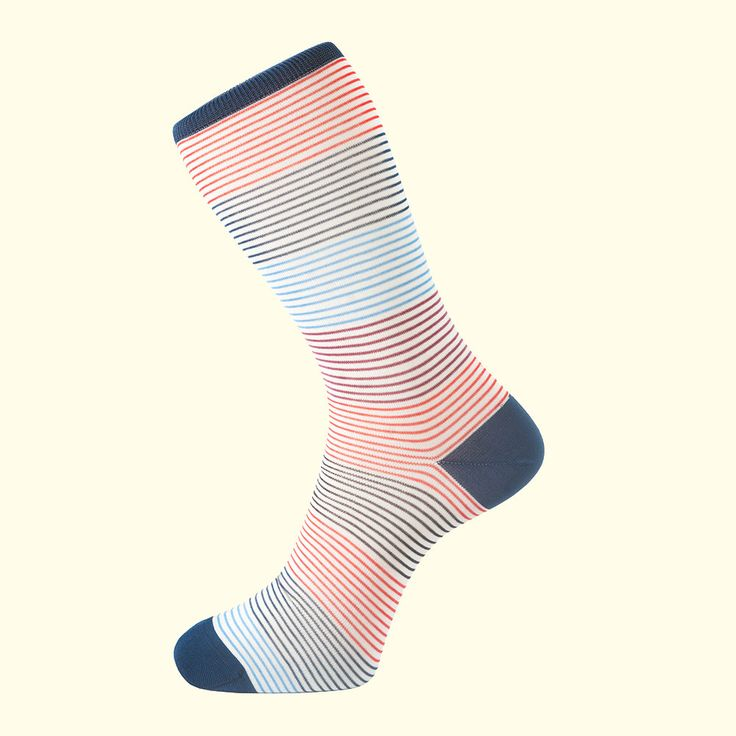 Multistripe Pattern Sock in White