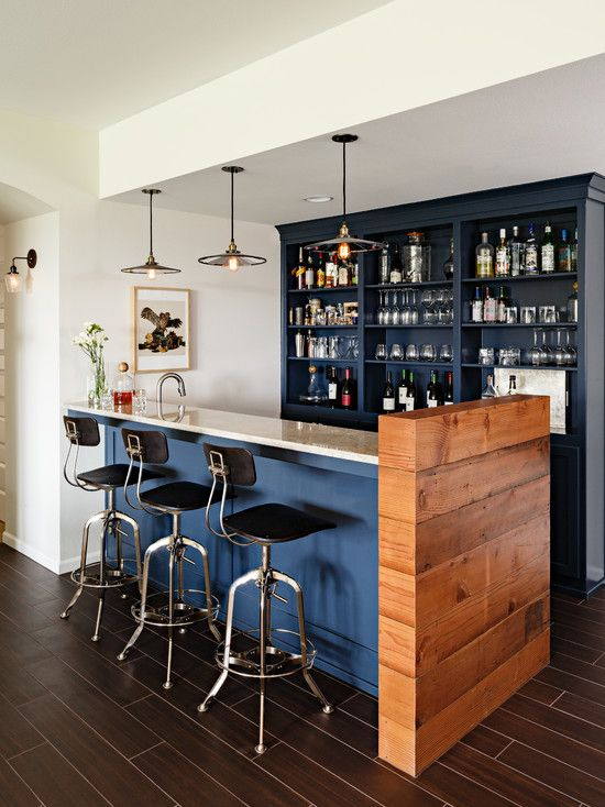 Basement, Transitional Home Bars For Basements Also Exciting Pendant Lights Also Modern Bar Stools And Brown Tile Floor Also White Wall Paint Color Dark Blue Bar Cabinet: Get your Most Favorite Spot with the Traditional and Genius Bar Ideas for Basement
