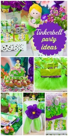 What a gorgeous green and purple Tinkerbell girl birthday party with decorated chairs, candy and table settings.  See more party ideas at CatchMyParty.com!
